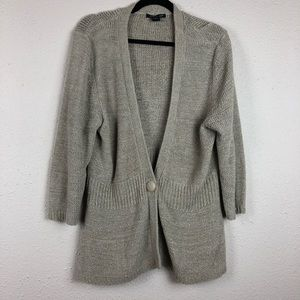 August Silk Open Knit Single Button Cardigan XL